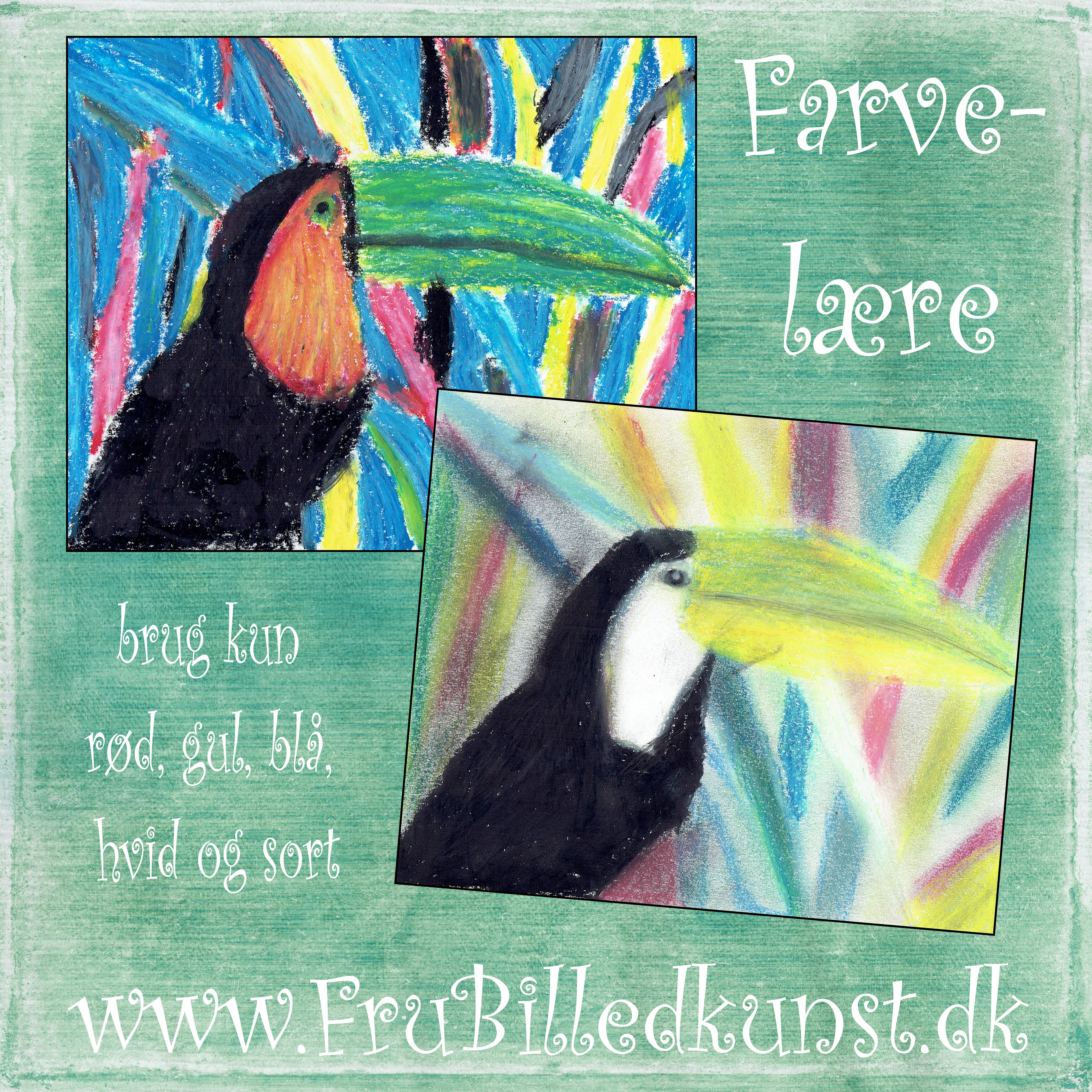 www.FruBilledkunst.dk - color theory  - paint with only red, blue, yellow, black and white